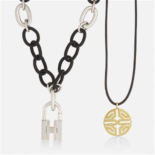 Hermès Silver lock pendant with two necklaces