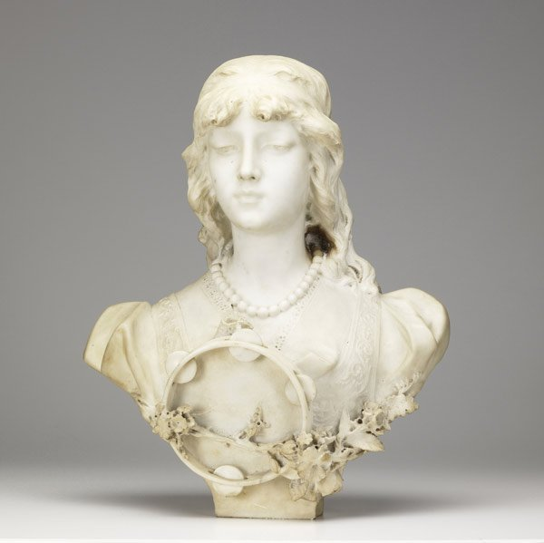 1: ITALIAN MARBLE Bust of a young woman