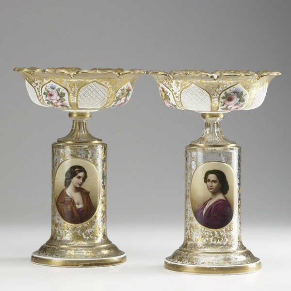 77: STYLE OF MOSER Pair of fine gold decorated compotes