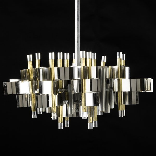 1006: SCIOLARI Chrome, brass and lucite lamp