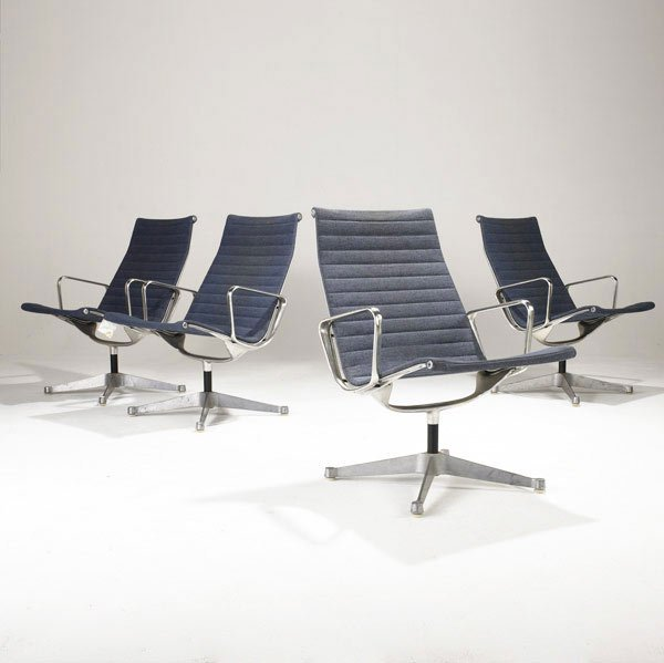 4: CHARLES AND RAY EAMES Eight Aluminum Group Chairs
