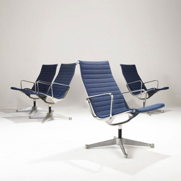 5: CHARLES AND RAY EAMES  Eight Aluminum Group Chairs