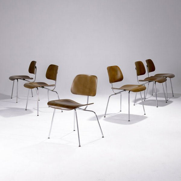 6: CHARLES AND RAY EAMES Set of six DCM walnut  chairs