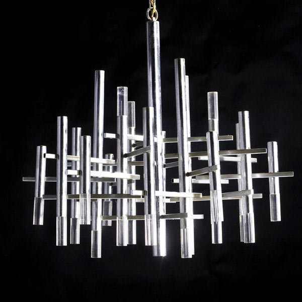 48: GAETANO SCIOLARI Chrome and lucite chandelier
