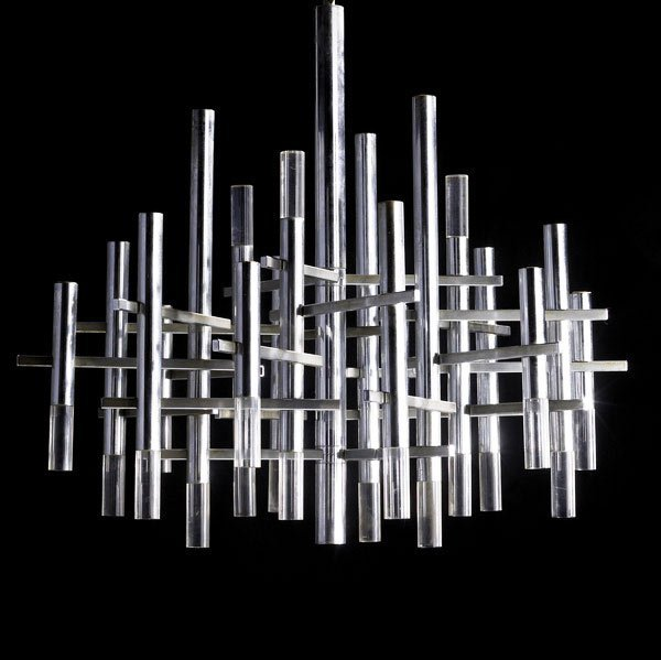 48: GAETANO SCIOLARI Chrome and lucite chandelier  - 2