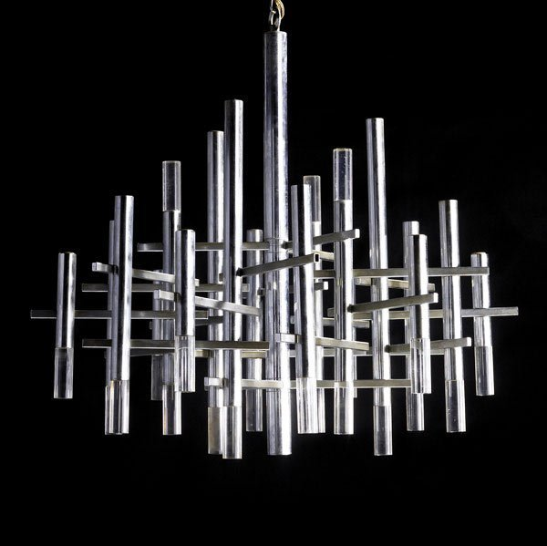 48: GAETANO SCIOLARI Chrome and lucite chandelier  - 3
