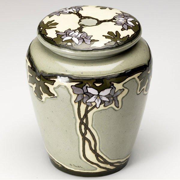 1: ROSEVILLE Experimental Della Robbia covered jar