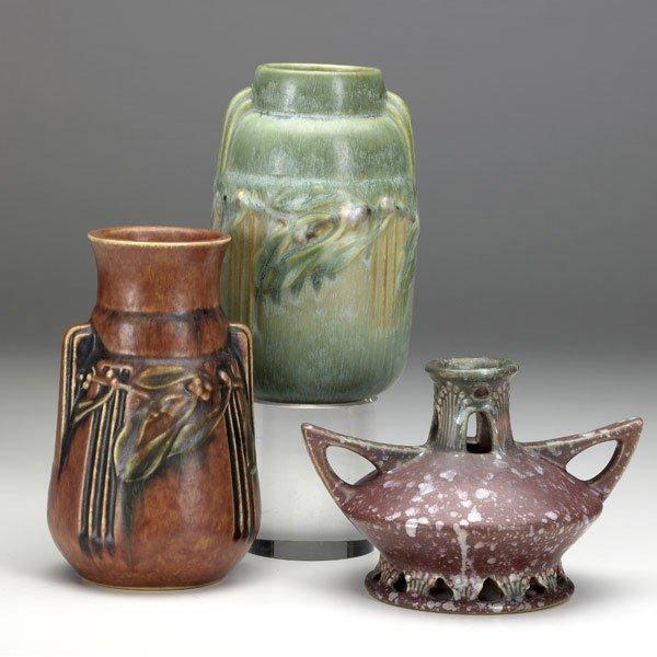 6: ROSEVILLE Three vases: Ferrella, Laurel