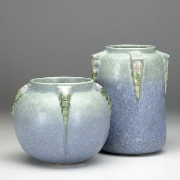 7: ROSEVILLE Blue Topeo two vases