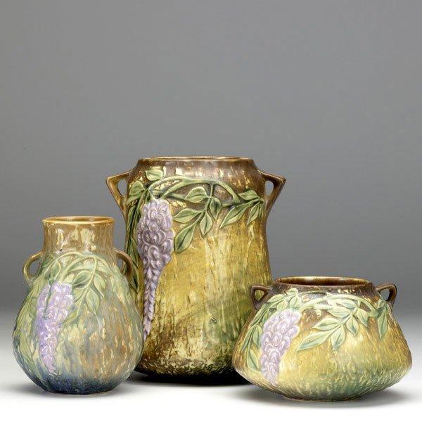 13: ROSEVILLE Wisteria three vases