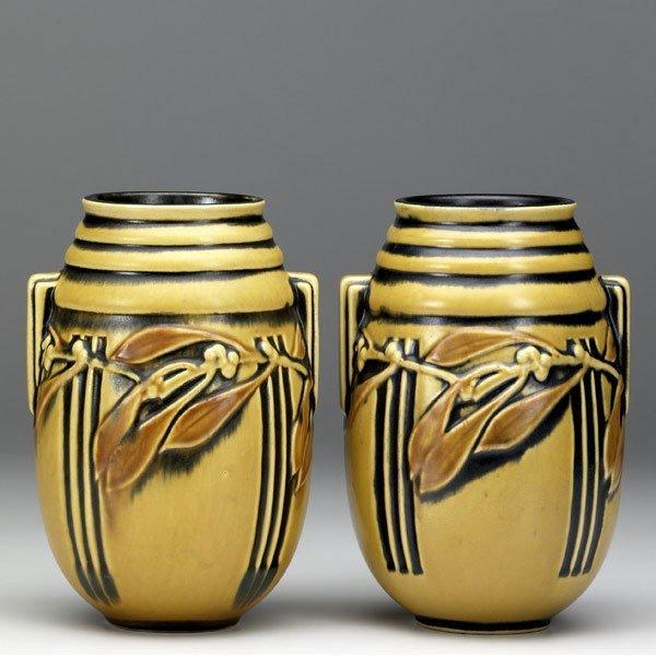 21: ROSEVILLE Yellow Laurel pair of vases