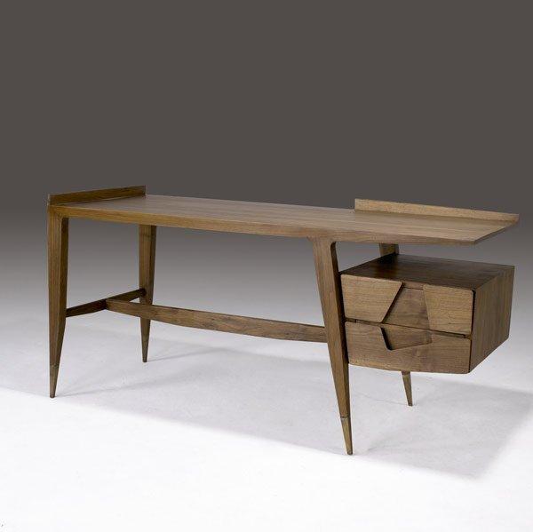 611: GIO PONTI Walnut writing desk