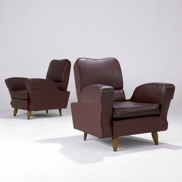614: ITALIAN Pair of sculptural armchairs