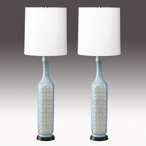 618: GUIDO GAMBONE Pair of tall ceramic table lamps