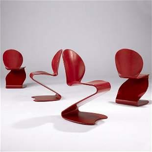 937: VERNER PANTON / THONET Set of four bentwood chairs