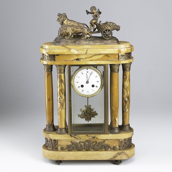3: French marble column clock, 19th C.