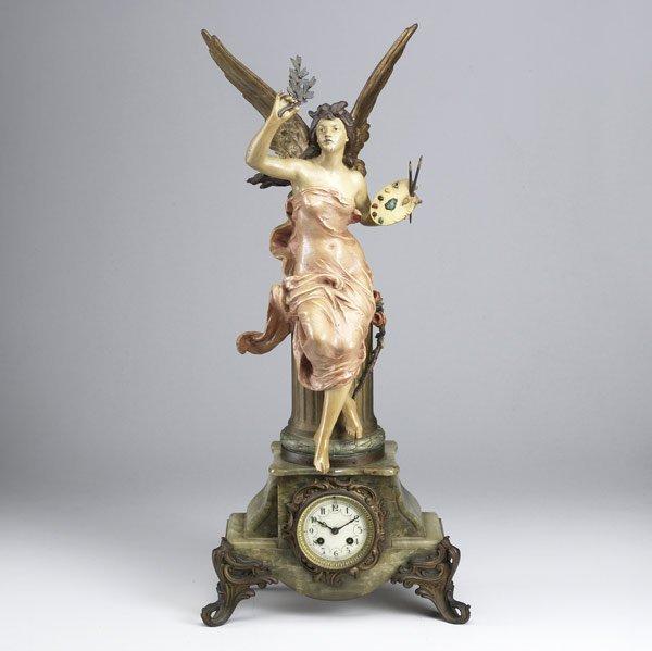4: French onyx base statue clock, 19th/20th C.