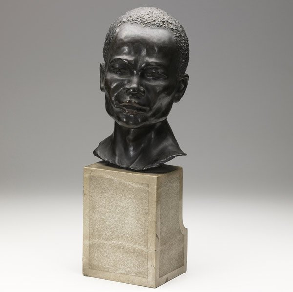 7: African-American bronze bust on a marble base