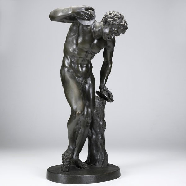 8: Bronze sculpture of classical male discus thrower