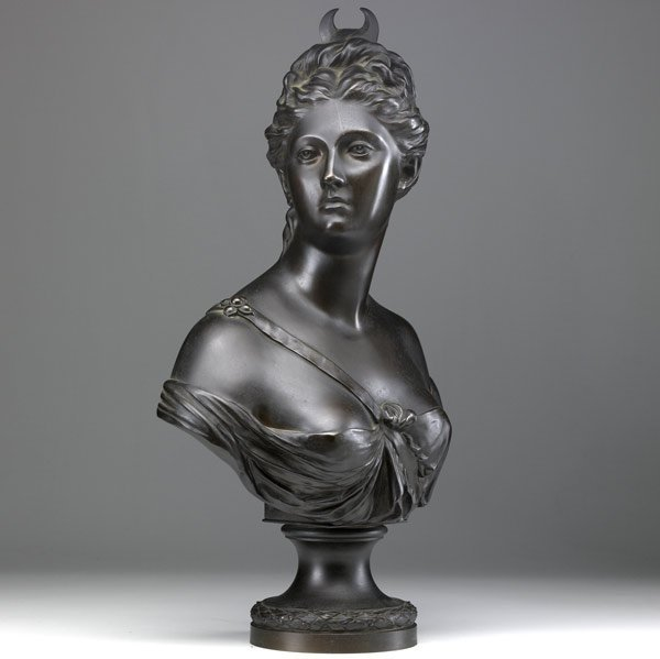 9: French bronze bust of Diana
