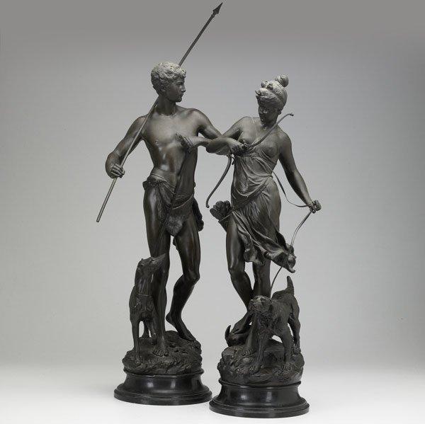 11: Pair of Classical bronze figures