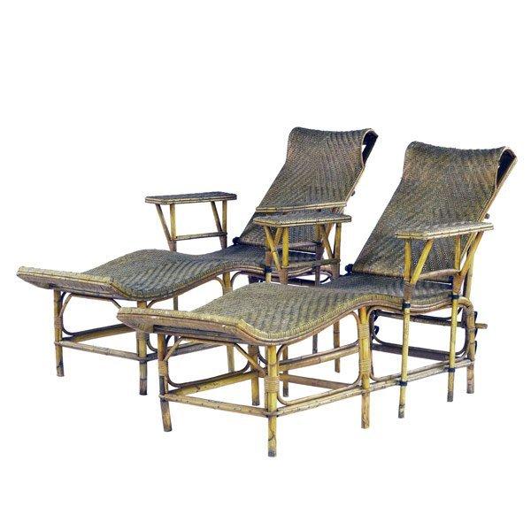 18: Pair of rattan chaises