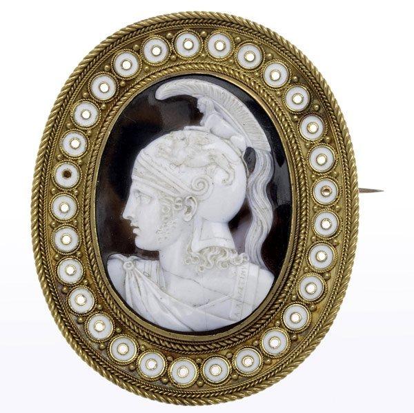 1002: CASTELLANI  (Attr.) ENAMELED GOLD & STONE BROOCH