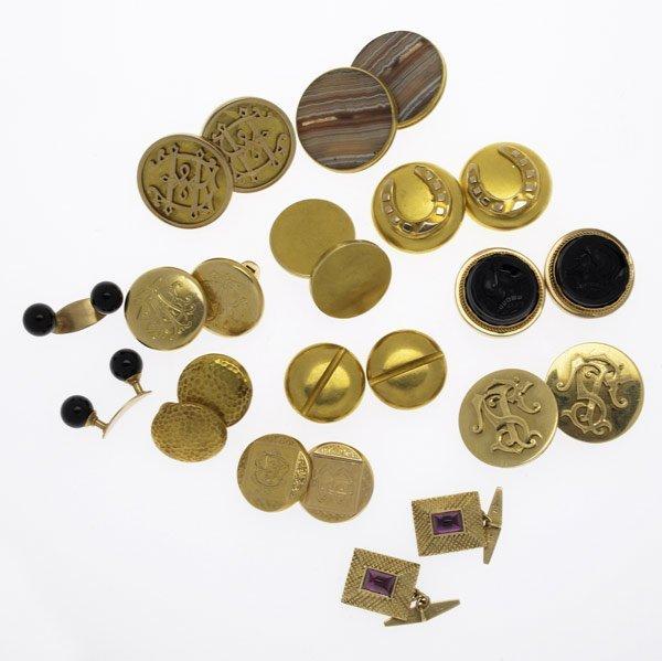 1005: VICTORIAN GOLD CUFFLINKS & BUTTONS