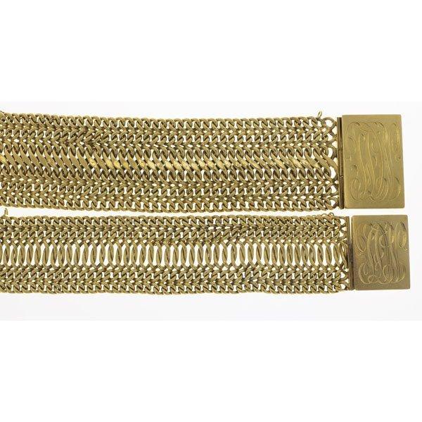 1009: TWO VICTORIAN GOLD MESH CUFFS
