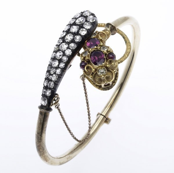 1010: VICTORIAN HINGED DIAMOND SERPENT BRACELET