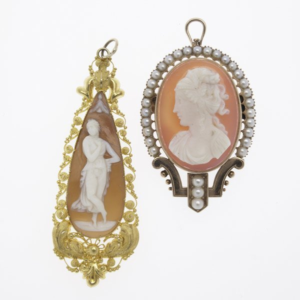 1018: TWO VICTORIAN GOLD & CAMEO PENDANTS