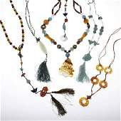 1140: CHINESE CARVED HARDSTONE AND TURQUOISE JEWELRY