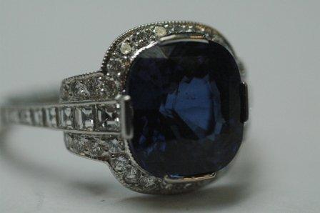 1329: IMPORTANT TIFFANY & CO. DIAMOND & SAPPHIRE RING  - 2