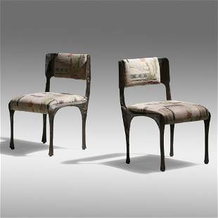 Paul Evans, Sculpted Bronze chairs, pair
