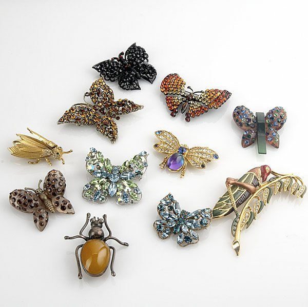 13: BUTTERLFY OR INSECT BROOCHES