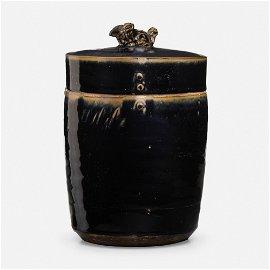 Chinese, Rare Henan Black-glazed cylindrical jar