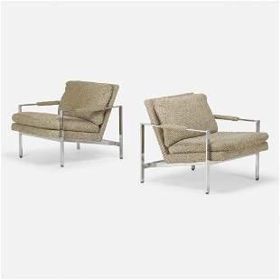 Milo Baughman, Lounge chairs, pair