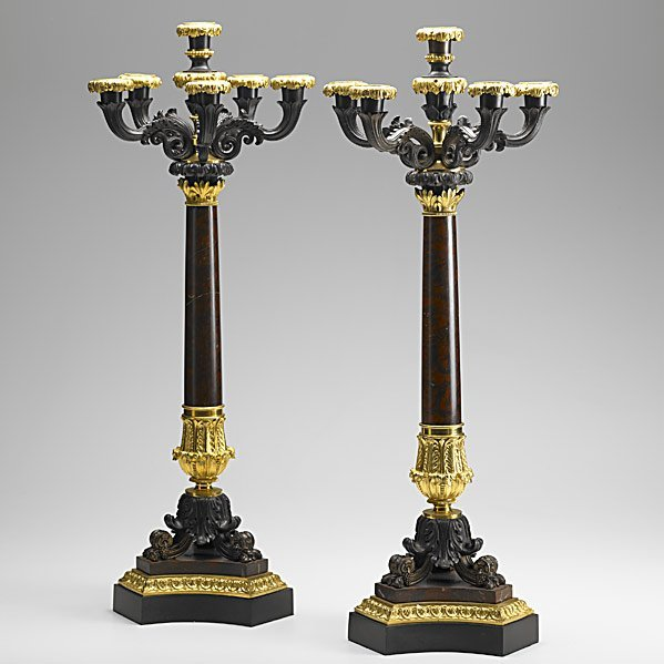2: PAIR OF BRONZE AND MARBLE CANDELABRA