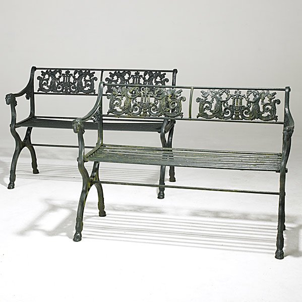 23: PAIR OF CAST IRON BENCHES