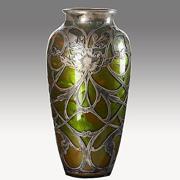 248: LOETZ Silver Titania overlaid glass vase