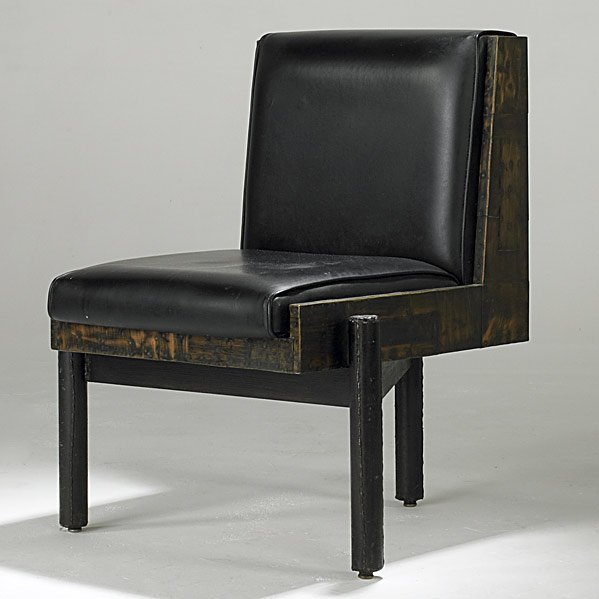 502: PAUL EVANS Black leather lounge chair