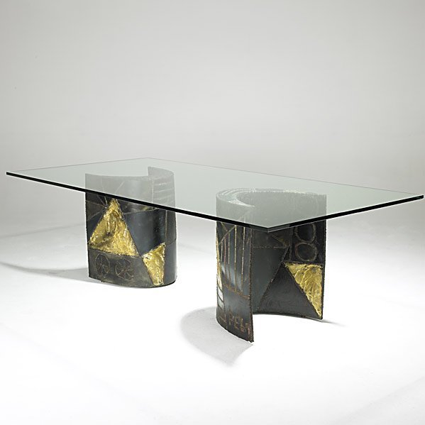 504: PAUL EVANS Steel and glass dining table