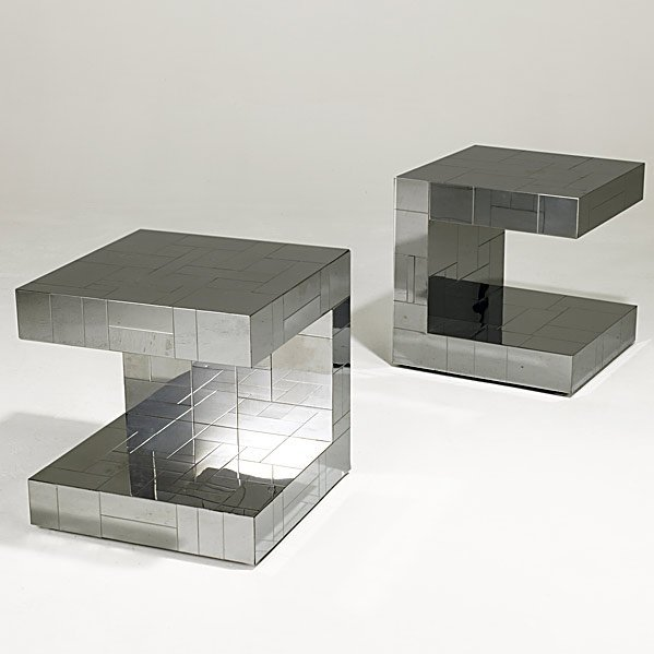 513: PAUL EVANS Pair of Cityscape side tables