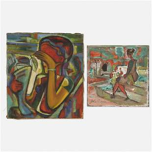 John Shayn, At the Fountain; Untitled (two works)