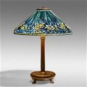 Tiffany Studios, Rare blue Daffodil table lamp