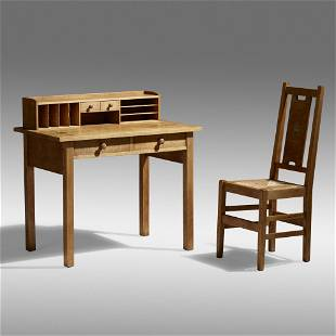 Gustav Stickley, Rare inlaid desk and chair