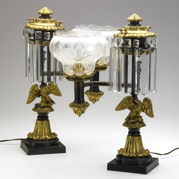 9: PAIR OF REPRODUCTION ARGAND LAMPS