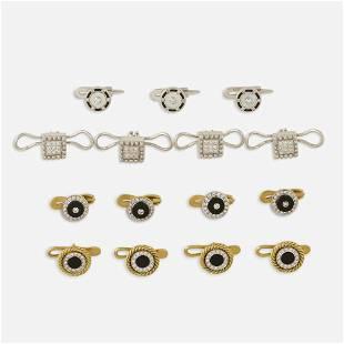 Four sets of diamond set shirt studs