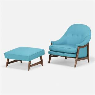 Edward Wormley, Lounge chair and ottoman, model 5701