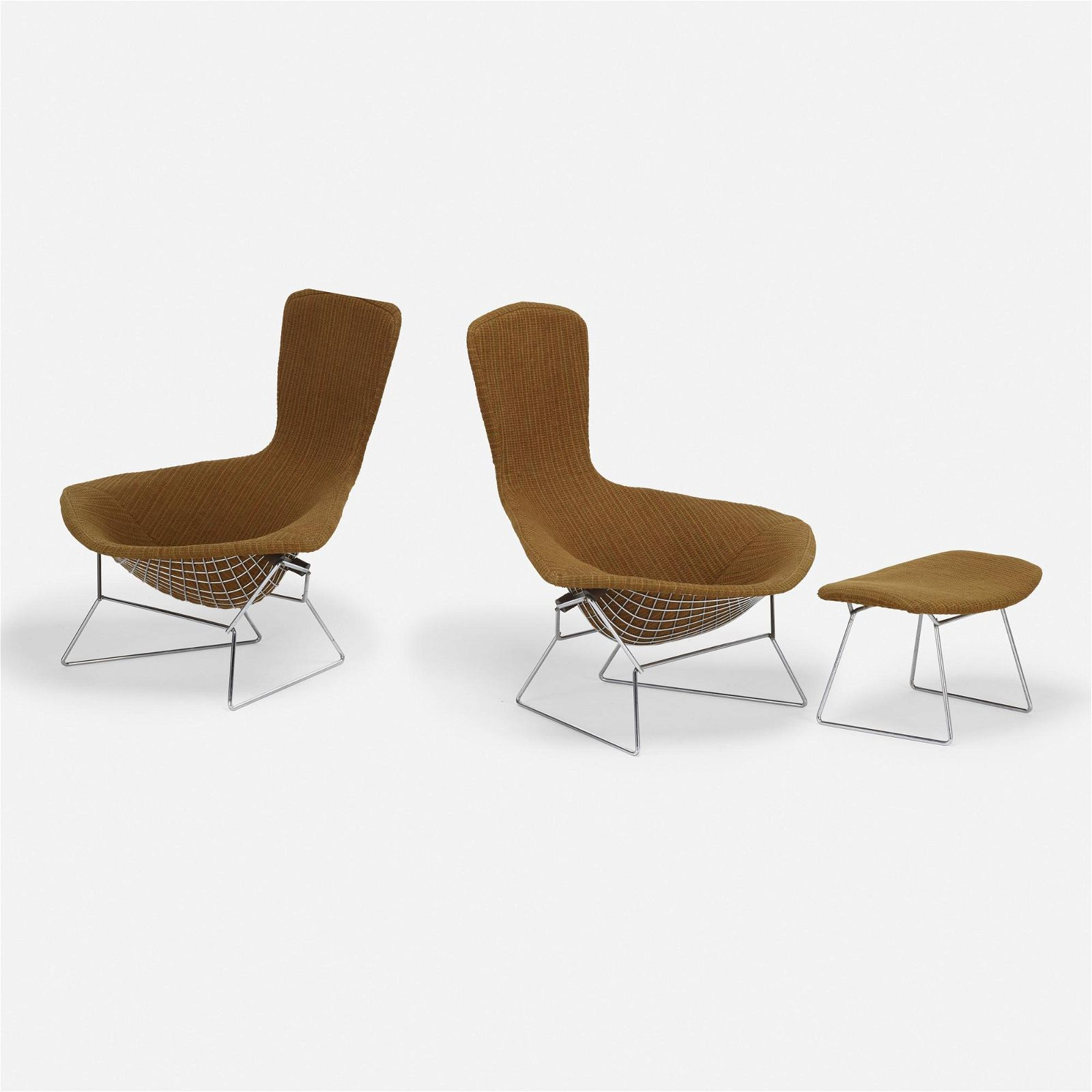 Harry Bertoia, Bird chairs, pair and ottoman